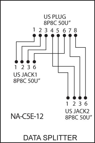Pk4540 Rj45 Data    Data Line Splitter 1x Rj45 Plug To 2x