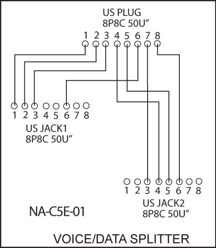 Pk4542 Rj45 Data  Voice Line Splitter 1x Rj45 Plug To 2x