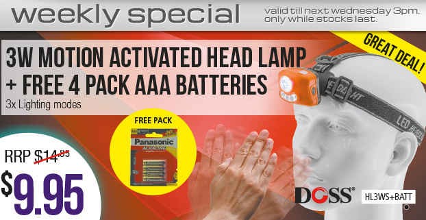 Weekly Special: 3W MOTION ACTIVATED HEAD LAMP + free 4 PACK AAA batteries Only $19.95
