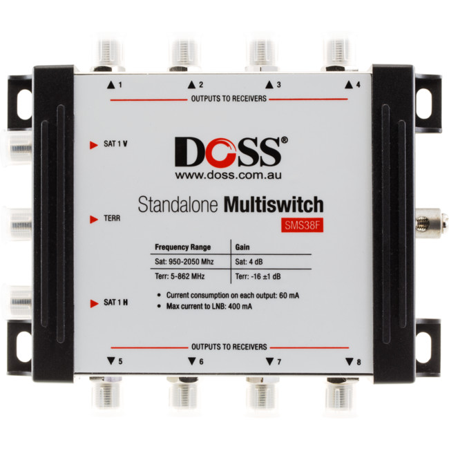 SMS38F 3-IN 8-OUT MULTISWITCH 5-2150MHZ F-TYPE SATELLITE FTA