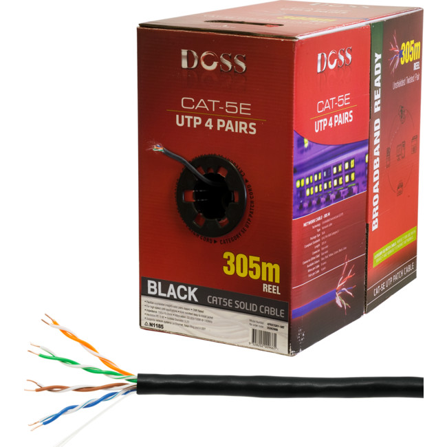 C5RBLK 305M CAT5E SOLID CABLE BLACK (SOLD AS 305M ROLL ONLY)