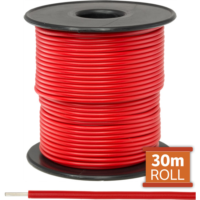 21-.08R-30M 30M RED HOOKUP WIRE/ CABLE (SOLD AS A ROLL OF 30M)