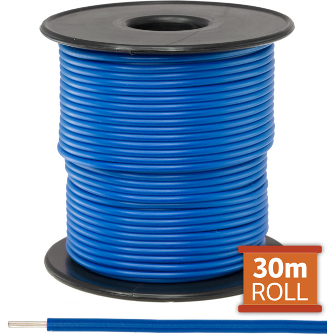 21-.08BLU-30M 30M BLUE HOOKUP WIRE/ CABLE (SOLD AS A ROLL OF 30M)