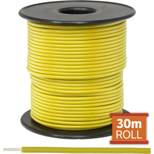 21-.08Y-30M 30M YELLOW HOOKUP WIRE/ CABLE (SOLD AS A ROLL OF 30M)