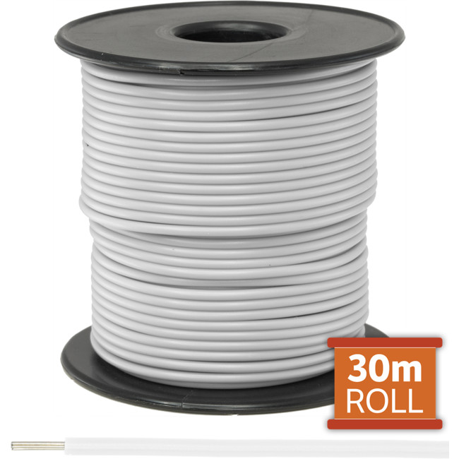 21-.08W-30M 30M WHITE HOOKUP WIRE/ CABLE (SOLD AS A ROLL OF 30M)