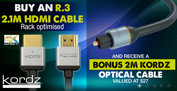 Kordz Promo 2017 Buy an R.3 2.1m HDMI cable + bonus 2m KORDZ optical cable