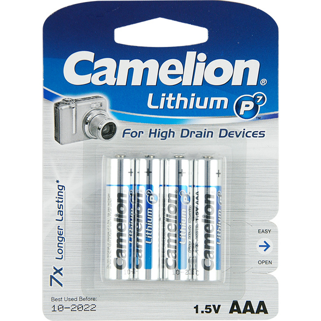 CAMELION CLAAAPK4 AAA LITHIUM BATTERY - 4 PACK CAMELION