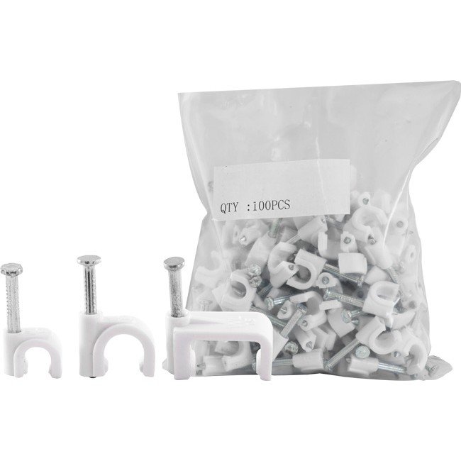 Grey Round Cable Clips 6mm 50 pieces
