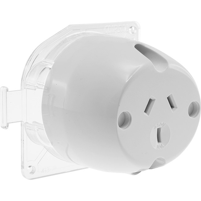 CLIPSAL PDL51M/B SURFACE MOUNT SOCKET WHITE 250V 10A 3 PIN CLIPSAL on three pin plug, 10a 250v power cord, 10a 125v plug, 10a 250v fuse, power plug, 10a 250v adapter usa,