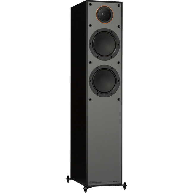 MONITOR200BL Black Floorstanding Speakers Side front view