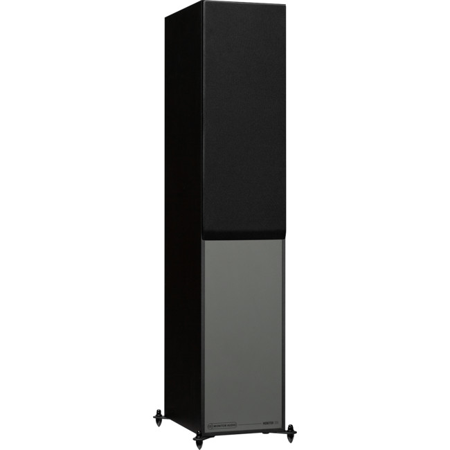 MONITOR200BL Black Floorstanding Speakers Side front view with grille