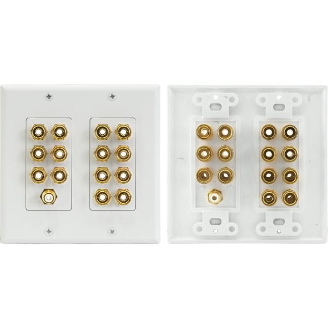 Gold Series 8 Terminal Speaker Wall Plate