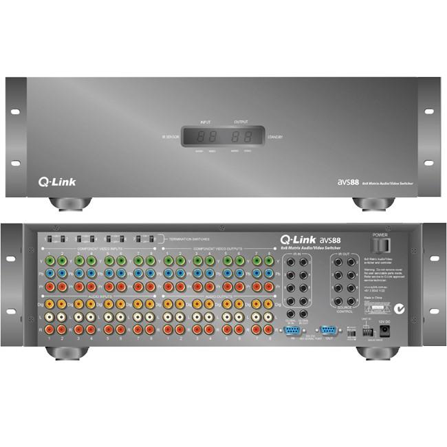 Q-LINK AVS88 8X8 COMPONENT AV MATRIX SWITCH WITH DIGITAL
