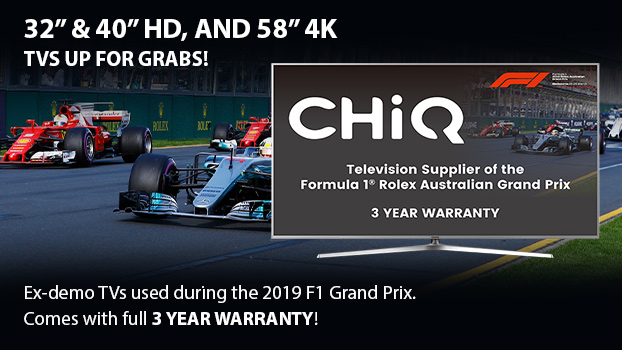 Save big on ex-demo Chiq TVs with full 3 year warranties!
