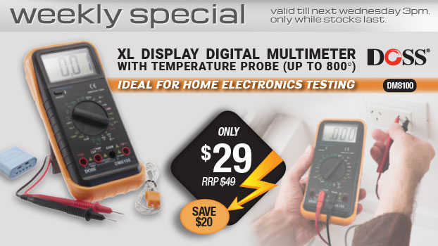 Doss XL DISPLAY DIGITAL MULTIMETER WITH TEMPERATURE PROBE ONLY $29